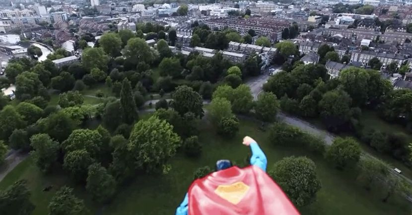 Superman Protects the Sky of London with the Aid of a Drone