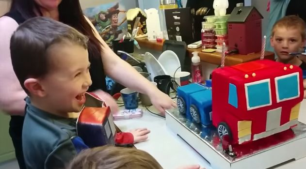 This Kid Received his Greatest Birthday Gift a Real Transforming Birthday Cake