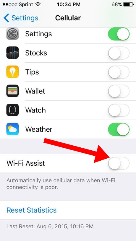 how to turn off mobile data assist
