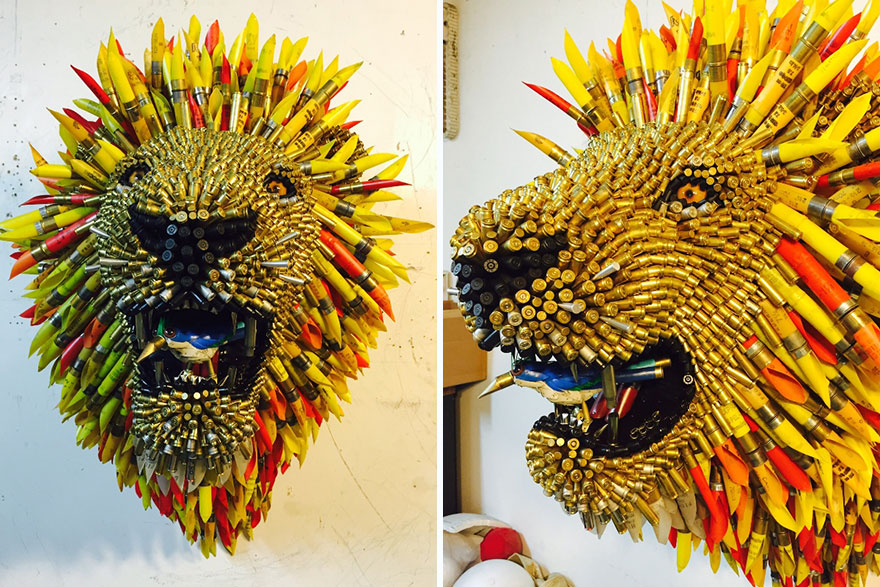 Artist From Columbia Turned Bullet Shells Into Amazing Animal Trophies