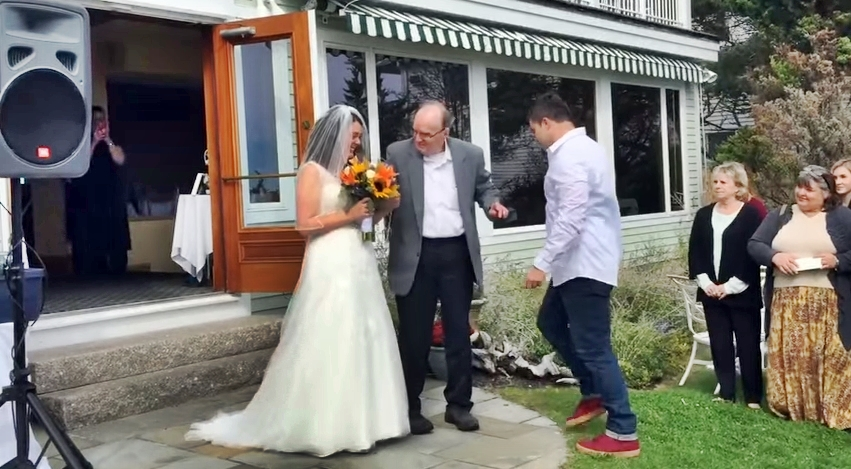 Dad Leaves His Wheelchair To Walk His Daughter Down The Aisle