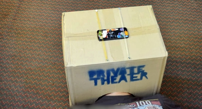 He Cuts A Cardboard Box Then Transforms It Into A Private Theater Box – You Must Try This One
