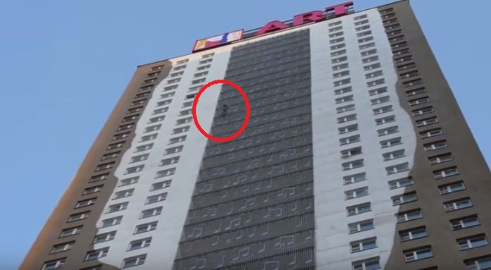 That's No Spiderman… But Watch What He Is Doing Up There.