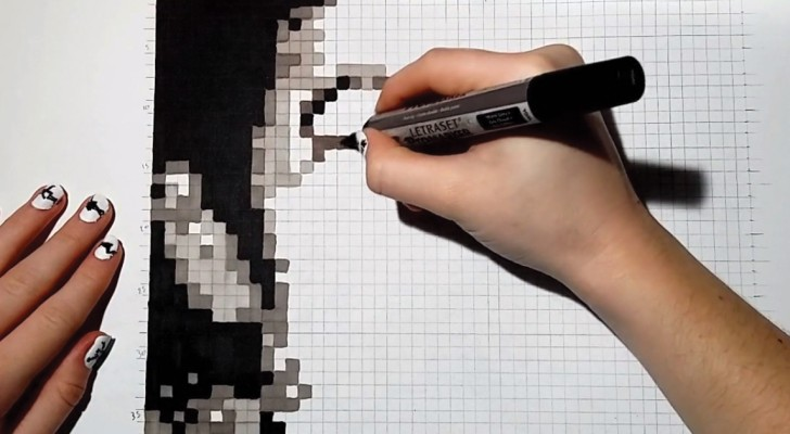 Color Squares On A Sheet Of Paper And Create This Very Amazing Work Of Art